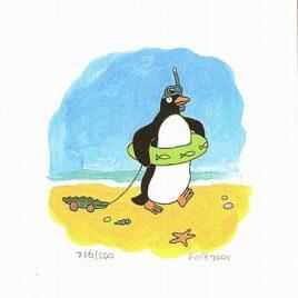 pinguin loopt op het strand met een houten loopkrokodil, kinderkamerkunst, zeefdruk