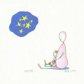Sterrennacht, tekening, aquarel van mamma met baby kijken naar de sterren, zeefdruk