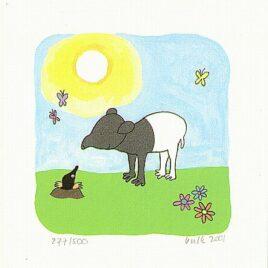 zeefdruk klein bulkje, Tapir ontmoet een mol met een blauwe lucht en vlinder