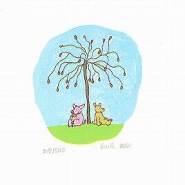 zeefdruk kleine bulkjes, vriendjes, varkentje en beertje zitten onder een kersen boompje